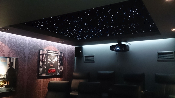 Home cinema room with complete Infinity star ceiling display